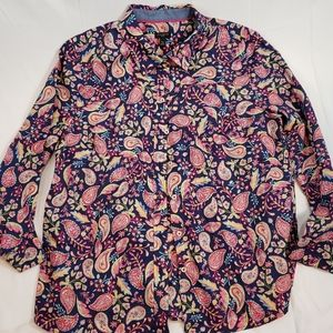 Talbots Petites Women's Button Down Top Paisley